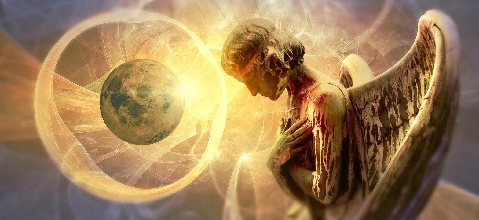 angel figure gazing at earth